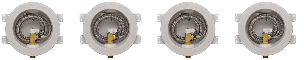IPS Corporation GIDDS-284201 IPS Water-Tite Round Icemaker Valve Outlet Box with Quarter Turn Valve and Stainless Supply Line, Copper Sweat, Lead Free (4-(Pack)) by Water-Tite (Image #1)
