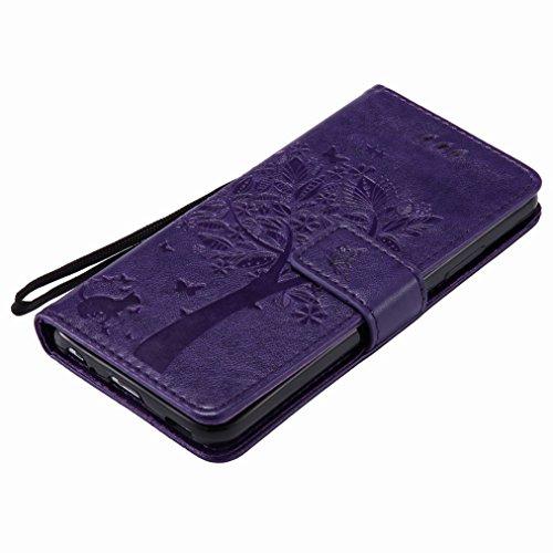Yiizy Huawei P10 Custodia Cover, Alberi Disegno Design Sottile Flip Portafoglio PU Pelle Cuoio Copertura Shell Case Slot Schede Cavalletto Stile Libro Bumper Protettivo Borsa (Porpora)