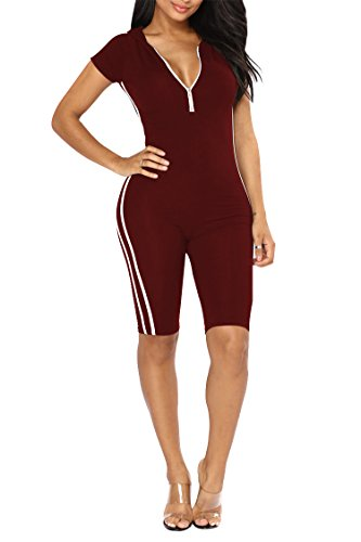 VamJump Ladies Short Sleeve Hoodie Zip up Cotton One Piece Jumpsuits Wine Red ()