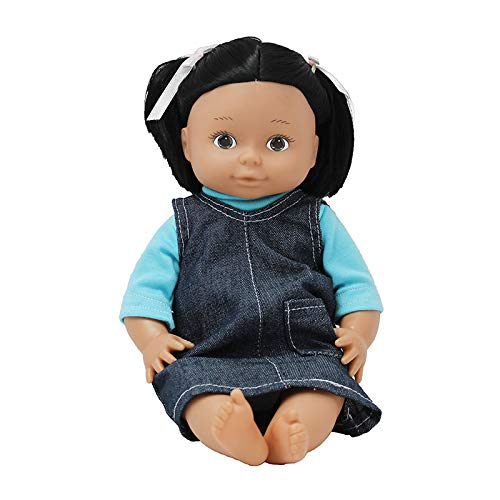 "Constructive Playthings 13"" Multi-Ethnic Native American Girl Doll with Moveable Head, Arms and Legs, Safe Painted Eyes and Durable Washable Clothes for Ages 19 Months and Up"