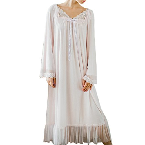 Women's Long Sheer Vintage Victorian Lace Nightgown Sleepwear Pyjamas Lounge Dress Nightwear (Light Pink, x-Large)