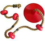 HappyPie Climbing Rope with Four Platforms and Plastic Disc Swing Seat (Red)
