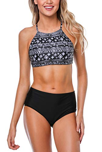 ATTRACO Womans Crop Top Bikini with High Waist Bottom Set Bathing Suits Swimsuit ()