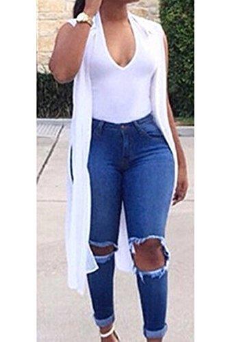 Le Lavato Donne Si Jeans Buco Pantaloni I Blue Strappato Di Leggings Lungo wtpwdqrxH
