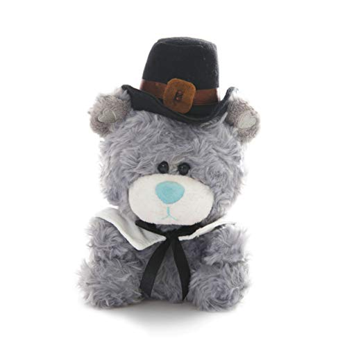 Plushland Qbeba Bear 6 Inches Pilgrim Dressed - Cute Hat and Collar- Stuffed Animal Toys for Kids on Christmas Day (Pilgrim Gray) (Bear Christmas Dressed Teddy)