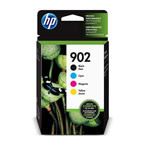 HP 902 Black, Cyan, Magenta & Yellow Ink Cartridges, 4 Cartridges (T6L98AN, T6L86AN, T6L90AN, T6L94AN) ()