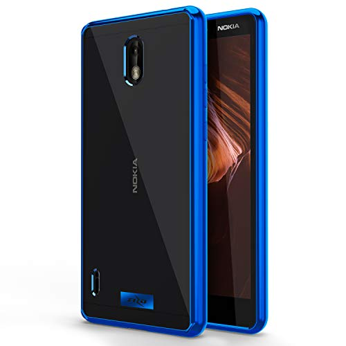 Zizo Refine Series Compatible with Nokia 3.1 C Case Slim Clear with PC Metallic Bumper Blue Clear (Mobile Phone Cases Nokia)