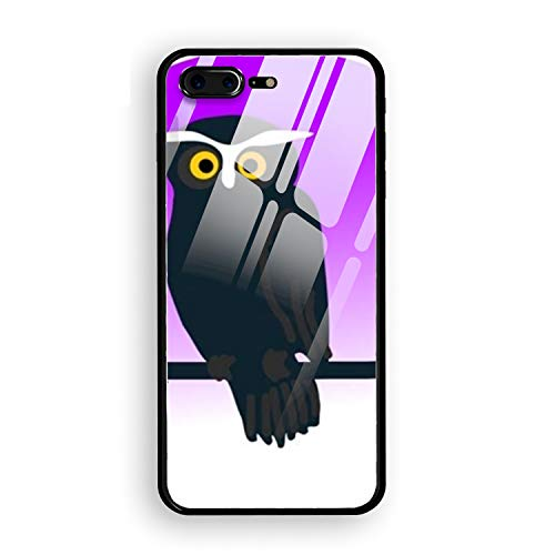 iPhone 8 Plus Case,Clipart Halloween Owl Full Body Protection Hard Slim Tempered Glass Coated Case for Apple iPhone 8 Plus -
