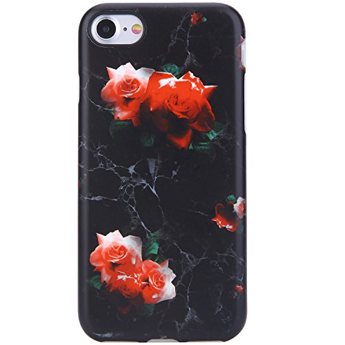 iPhone 7 Case/iPhone 8 Case, Black Marble and Red Rose design, VIVIBIN Anti-Scratch Shock Proof Soft TPU Gel Case Silicon Protective Skin Cover for iPhone 7 / iPhone 8 4.7
