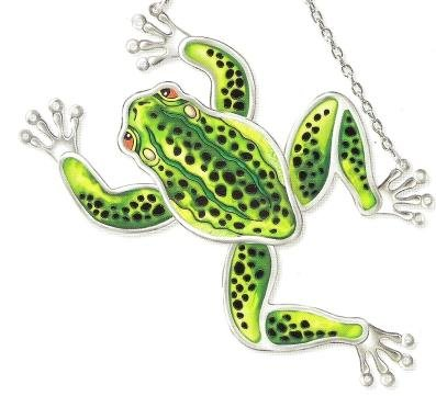 Amia 7701 Green and Black Frog Suncatcher, Hand-painted Glass, 8-1/2-Inch L by 4-3/4-Inch W in Vertical Look, 7-1/2-Inch by 7-Inch W in Horizontal Look