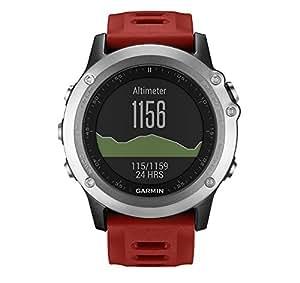 Garmin 010-01338-06 Fenix 3  - Reloj multideporte con GPS y correa, Reloj Plata/Correa Roja, Talla única