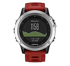 Garmin Fenix 3 - Reloj multideporte con GPS y correa, color Reloj Plata/Correa Roja, talla única