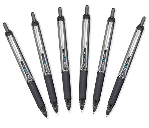 Pilot Precise V7 RT Retractable Rolling Ball Pens, Fine Point, Black Ink, 6 Pack
