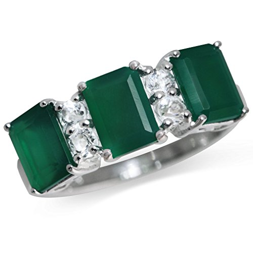 2.85ct. 3-Stone Natural Emerald Green Agate & White Topaz 925 Sterling Silver Ring Size 8