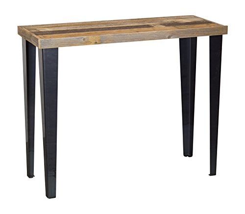 del Hutson Designs Rustic Barnwood & Metal Sofa Table, Multi-Colored