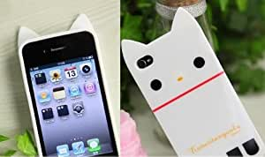 White Cat Soft TPU Case Skin Cover for iPhone 4 4G