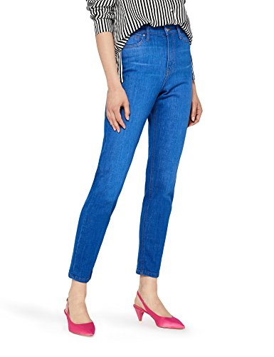 FIND Women's Mom Jeans High Waist Cropped Jeans Blue (Bright Vintage)