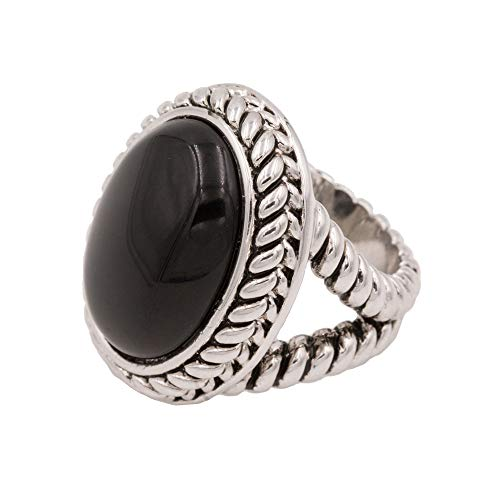Lavencious Antique Silver Vintage Oval Black Gem Stone Statement Ring for Women Size 5 - 10