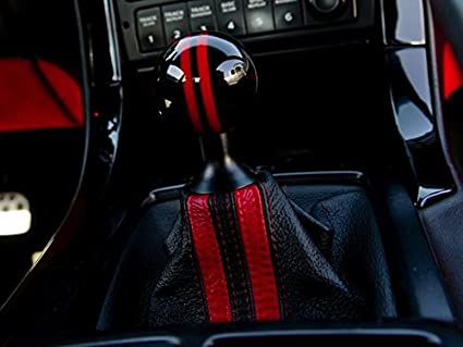 Black Leather-Silver Thread RedlineGoods Shift Boot Compatible with Pontiac GTO 2004-06