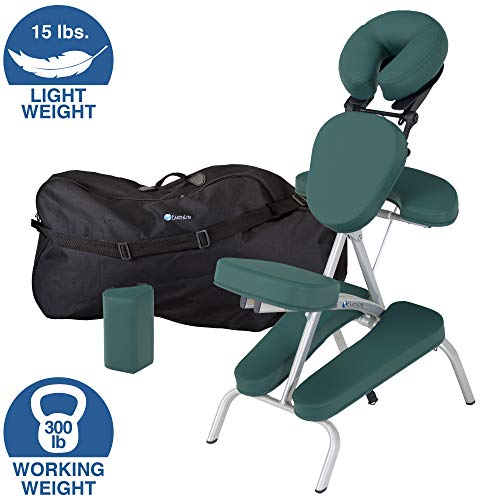 EARTHLITE Portable Massage Chair Package VORTEX - Portable, Compact, Strong and Lightweight incl. Carry Case, Sternum Pad & Strap (15lbs)