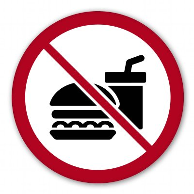 No Food or Drink Sign Vinyl Sticker - SELECT SIZE