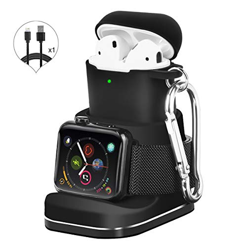 Kuvcco 2-in-1 Aluminum for Apple Watch Charger Stand,Desk Charging Dock for Airpods, Portable Charger Station for iWatch Series 4/3 /2/1&Airpods 2/1 (Black, s501)