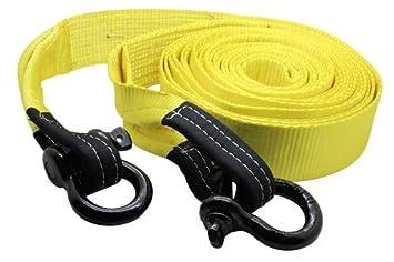 DiversityWrap 13.5t cinghia di traino resistente corda traino a cinghia per argano 4 x 4 Offroad con 2 x grilli giallo