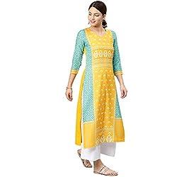 Vaamsi Women's Poly Crepe straight Kurta (VPK1583Par_ Yellow_ Large)