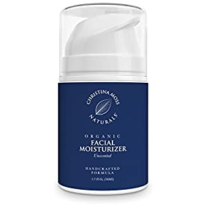 Facial Moisturizer, Organic & Natural Ingredients, Face Moisturizing Cream for Sensitive, Oily or Severely Dry Skin, Anti-Aging, Anti-Wrinkle, for Women and Men. Christina Moss Naturals (Unscented).