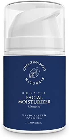 Facial Moisturizer - Organic & Natural Ingredients - Face Moisturizing Cream for Sensitive, Oily or Severely Dry Skin - Anti-Aging, Anti-Wrinkle - For Women & Men. Christina Moss Naturals (Unscented)