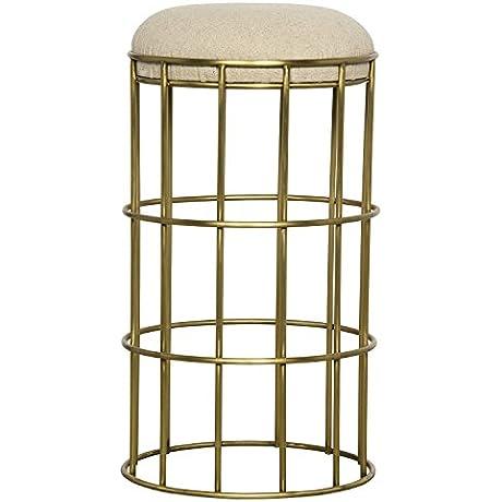 Cantara Hollywood Regency Linen Upholstered Gold Counter Stool