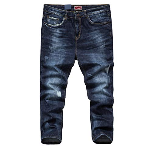 iHPH7 Jean Regular Fit Summer Jeans Casual Long Skate Board Stright Fashion Jean Plus Size Men (42,Navy) - Glory Black Motorcycle Boots