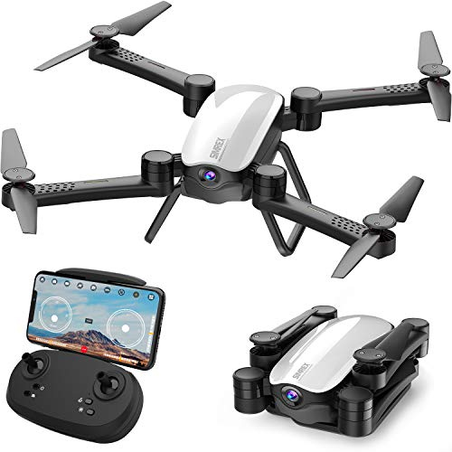 SIMREX X900 Drone 【Optical Flow Positioning】 RC Quadcopter with 1080P HD Camera, Altitude Hold Headless Mode, Foldable FPV Drones WiFi Live Video 3D Flips 6axis RTF Easy Fly Steady for Learning【White】