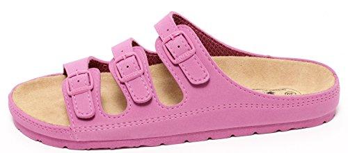 Damen Clogs Tieffußbett Pantolette Sandale Slipper Schuhe Job Praxis Freizeit Garten Allrounder MAGENTA PINK Gr. 38-41