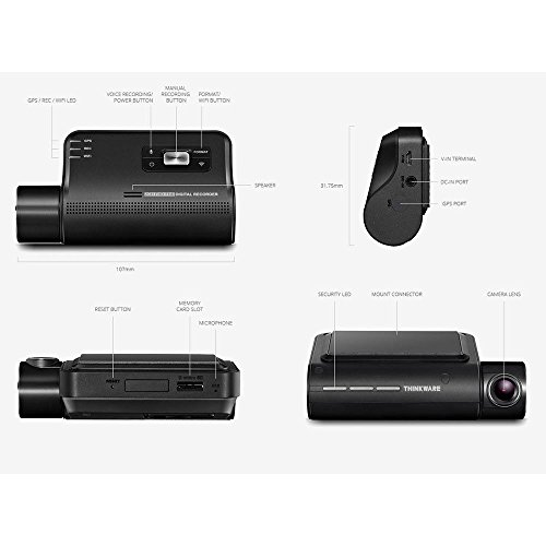 Thinkware F800 Pro Dash Cam 64GB Kit w/Rear Cam Hardwire WiFi GPS Night Vision by Thinkware (Image #4)