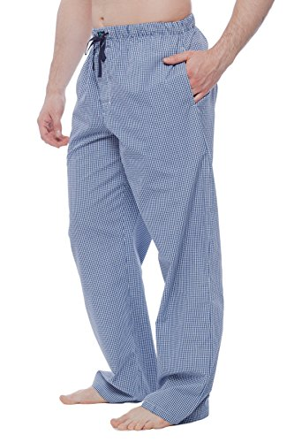Men's Cotton Light weight woven Pajama Pant with pockets Blue L