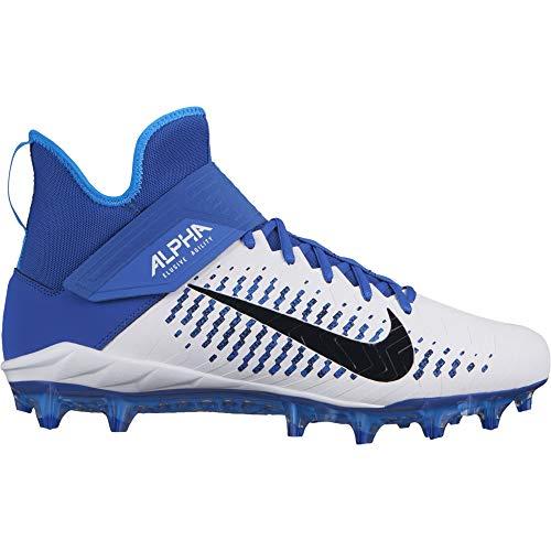 34d7902ea077 Nike Men's Alpha Menace Pro 2 Mid Football Cleat White/Black/Game Royal  Size 8 M US
