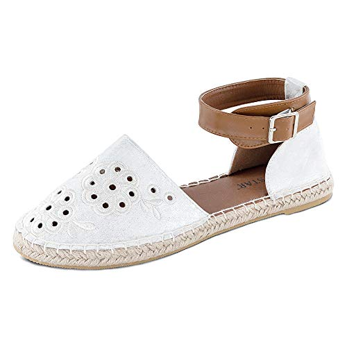 (TF STAR Women White Buckle Strap Flat Fashionable Casual Comfortable Loafers Slip on Shoes.)