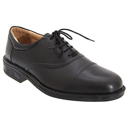 Roamers Herren Leder Flexi Capped Oxford Schuhe Schwarz