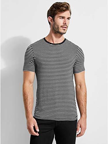 0eb100d9d7 Galleon - Guess Men's Short Sleeve Soundbar Crew Neck Shirt, Jet Black/Multi,  L