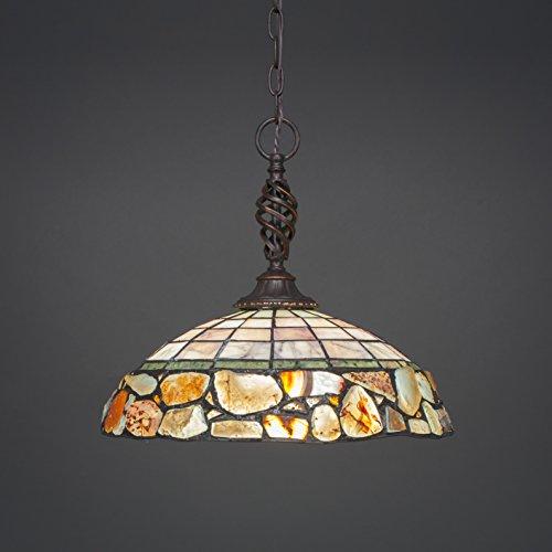 Cobblestone Two Light Pendant - Pendant with Cobblestone Glass Shade