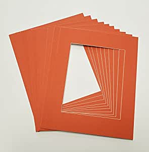 dark orange 11x14 white picture mats with white core for 8x10 pictures fits 11x14. Black Bedroom Furniture Sets. Home Design Ideas