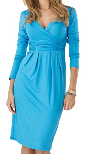M&S&W Women Long Sleeve V-neck Pencil Solid Bodycon Party Banquet Dress 1