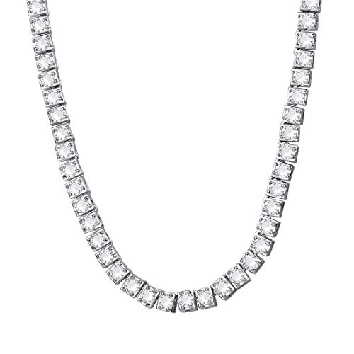 - U7 Bling Bling Iced Out Chain Platinum Metal 1 Row Cubic Zirconia Tennis Necklace Men Hip Hop Jewelry 22 Inch