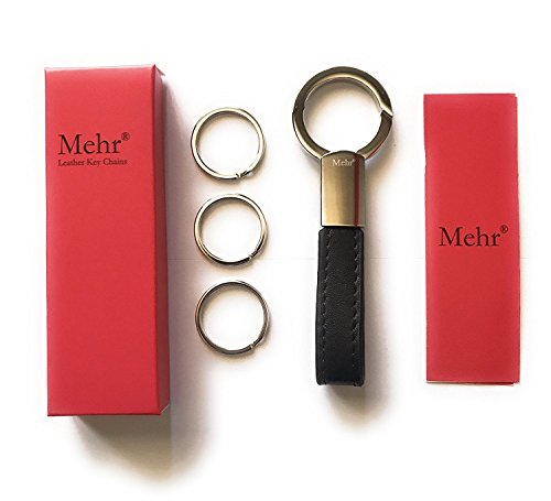Mehr Classic Leather Key Chain | Elegant, Timeless, Multi-ring Capable Keychain (Black) (Leather Ring Key Auto)