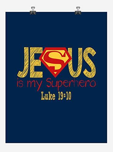 Superman Superhero Inspirational Nursery Decor Art Print in chalk lettering - Jesus Is My Superhero - Luke 19:10 -