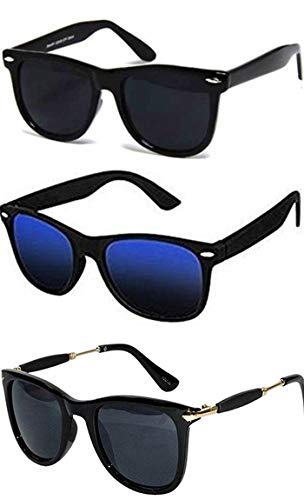 c5e0efec67 Combo Set of 3 UV Protect Fashion Wayfarer Goggle and Sunglasses Ideal for Men  Women Boys and Girls With Three Hard Black Boxes  Amazon.in  Clothing   ...