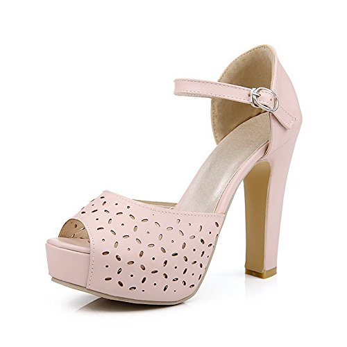 AmoonyFashion Womens Buckle Peep Toe High Heels Pu Solid Sandals Pink 6HR3gdq