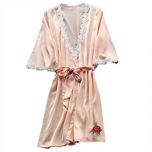 CCOOfhhc Pajamas for Women Floral Lace V Neck Satin Robe Bridal Dressing Gown Kimono Sleepwear Light Orange