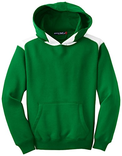 Sport-Tek Y264 Youth Pullover Hooded Sweatshirt with Contrast Color - Kelly Green - (Sport Tek Youth Color)